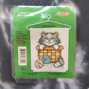 Kitten in Wool Basket Counted Cross Stitch Ornament Kit