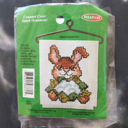 Rabbit with Cauliflower Counted Cross Stitch Ornament Kit
