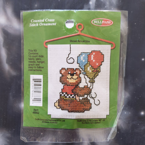 Bear with Balloons Counted Cross Stitch Ornament Kit
