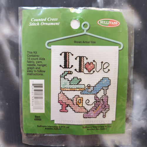 I Love Shoes Counted Cross Stitch Ornament Kit