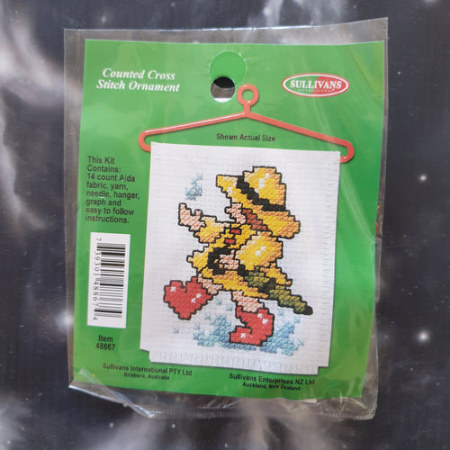 Child Playing in the Rain Counted Cross Stitch Ornament Kit