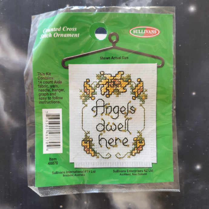 Angels Dwell Here Counted Cross Stitch Ornament Kit