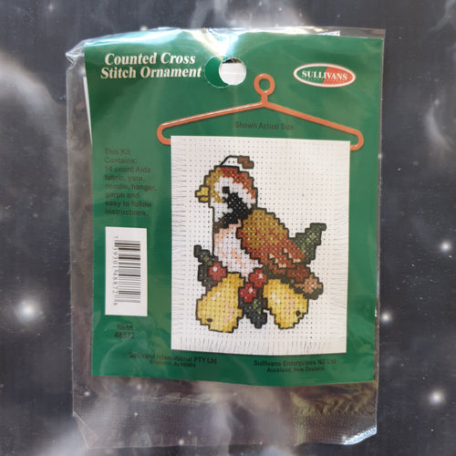 Partridge with Pears Christmas Counted Cross Stitch Ornament Kit