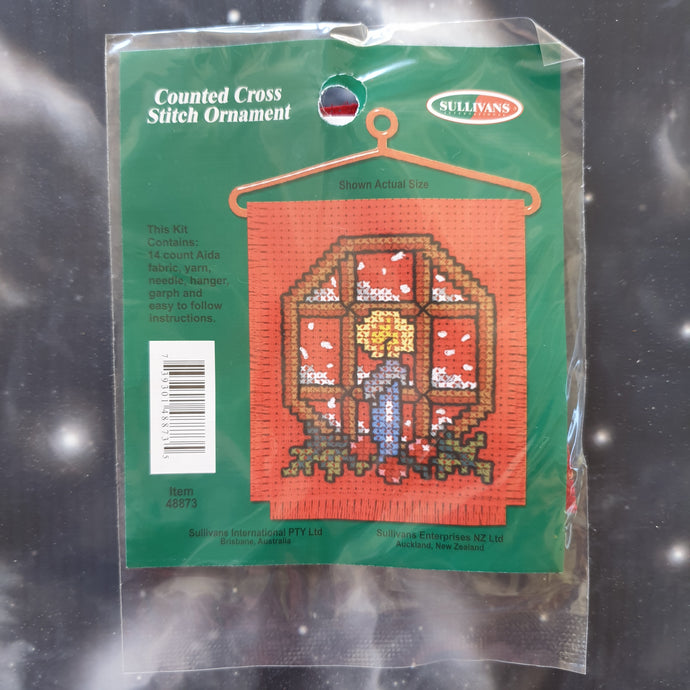 Candle in Window Christmas Counted Cross Stitch Ornament Kit