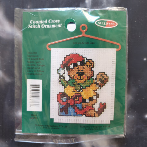 Bear with Gift Christmas Counted Cross Stitch Ornament Kit