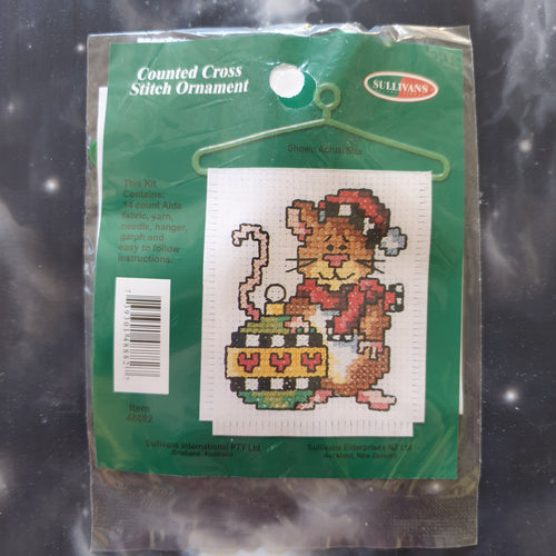 Mouse with Bauble Christmas Counted Cross Stitch Ornament Kit