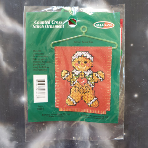 Gingerbread Dad Christmas Counted Cross Stitch Ornament Kit