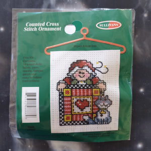 Elf with Gift & Cat Christmas Counted Cross Stitch Ornament Kit