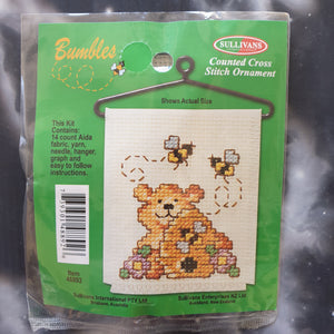 Bear with Beehive & Bees Counted Cross Stitch Ornament Kit