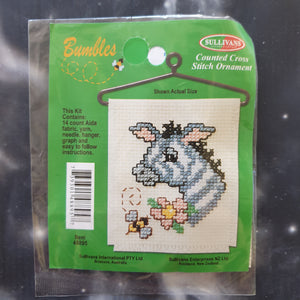 Zebra with Flower & Bee Counted Cross Stitch Ornament Kit