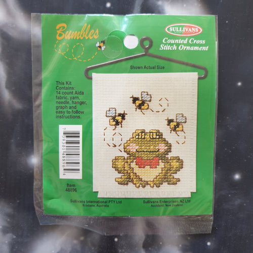 Frog & Bees Counted Cross Stitch Ornament Kit
