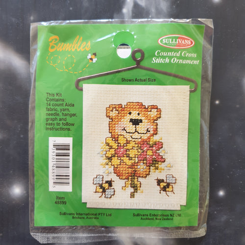 Bear with Flowers & Bees Counted Cross Stitch Ornament Kit