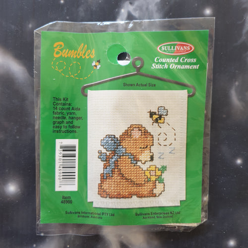 Bear with Flower & Bee Counted Cross Stitch Ornament Kit