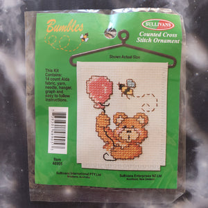 Bear with Balloon and Bee Counted Cross Stitch Ornament Kit