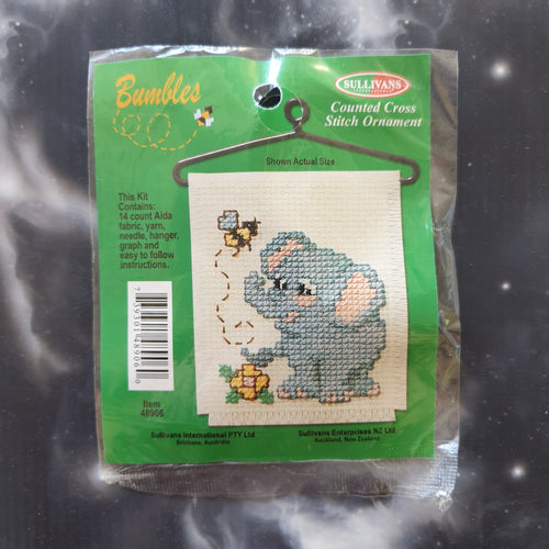 Elephant with Flower & Bee Counted Cross Stitch Ornament Kit