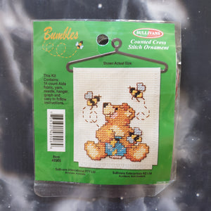 Bear with Honeypot & Bees Counted Cross Stitch Ornament Kit
