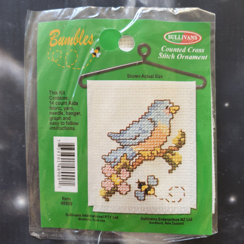 Bird on Branch with Bee Counted Cross Stitch Ornament Kit