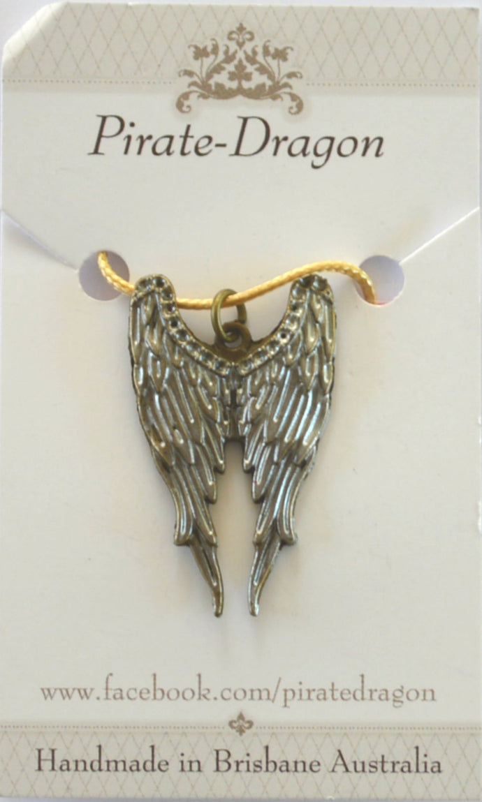 Wings pendant - Handpainted Silver