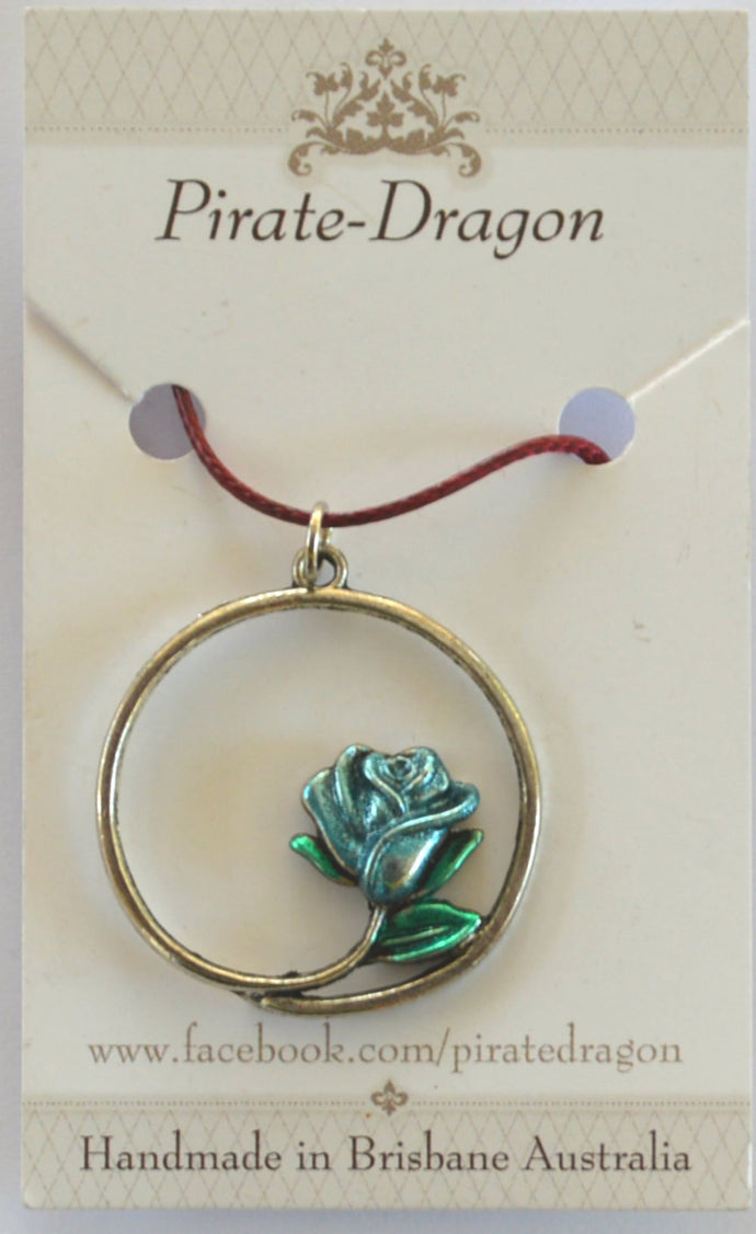Rose Pendant - Handpainted Light Blue