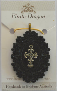 Black Frame, Silver Cross Pendant