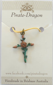 Rose Cross Pendant - Handpainted