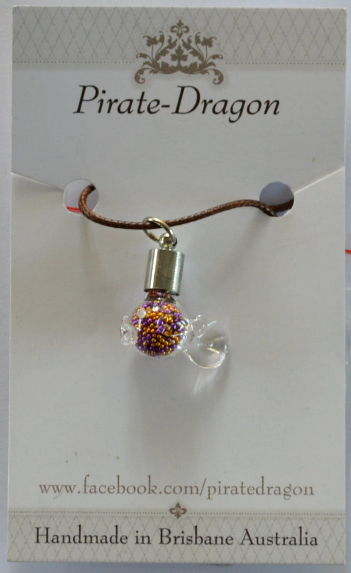 Glass Fish Pendant (Style 2) - Purple & Gold