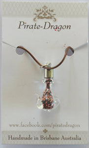 Glass Teapot Pendant - Pink & Black