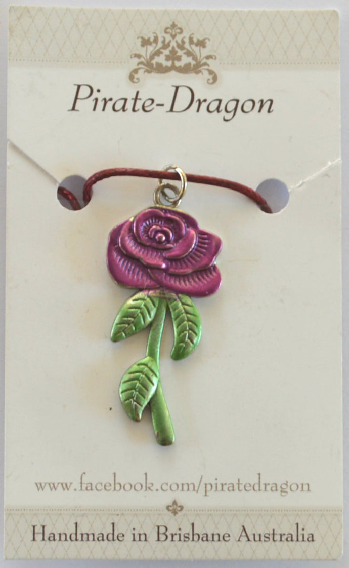 Rose Pendant - Handpainted Dark Pink