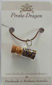 Glass Jug Pendant - Dark Blue & Gold