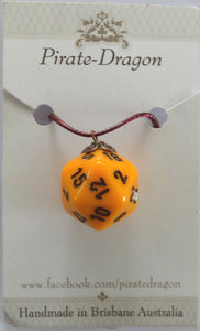 Dice Pendant - Yellow - other colours available
