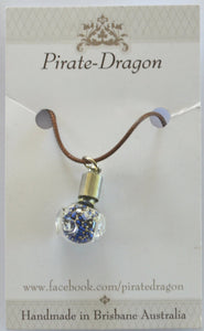 Glass Pig Pendant - Blue & Silver