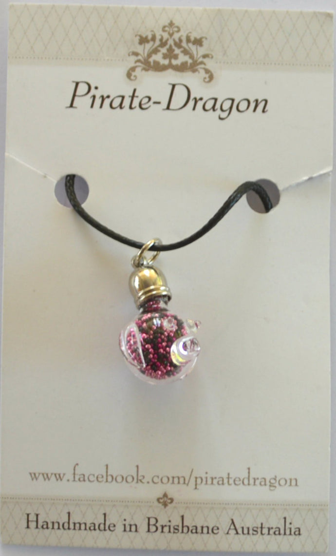 Glass Pig Pendant - Black & Pink