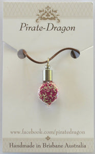 Glass Droplet Pendant - Pink & Silver