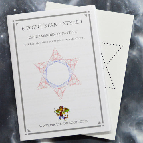 6 Point Star - Style 1 - Gift Card Embroidery Pattern
