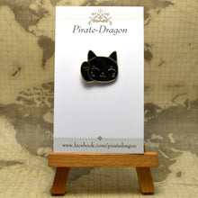 Load image into Gallery viewer, Black Cat Waving Enamel Pin
