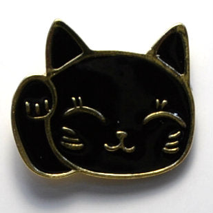 Black Cat Waving Enamel Pin