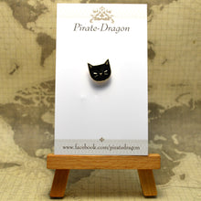 Load image into Gallery viewer, Black Cat Head Enamel Pin