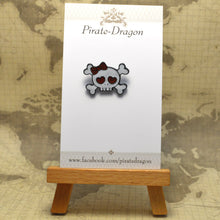 Load image into Gallery viewer, Skull & Bones with Bow Enamel Pin