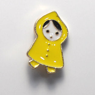 Yellow Raincoat Girl Enamel Pin