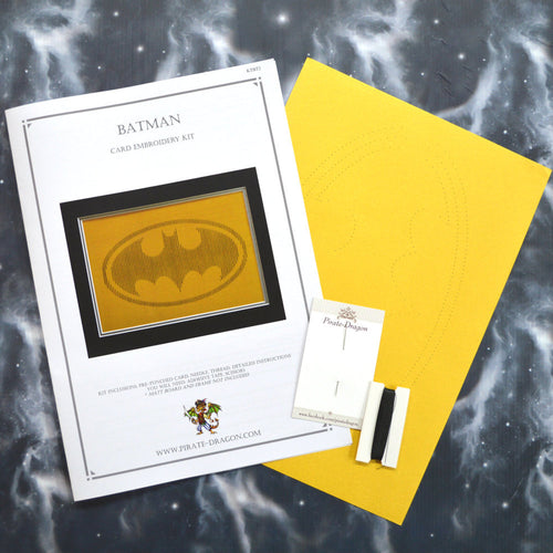 Batman Inspired Card Embroidery Kit (Yellow Card)