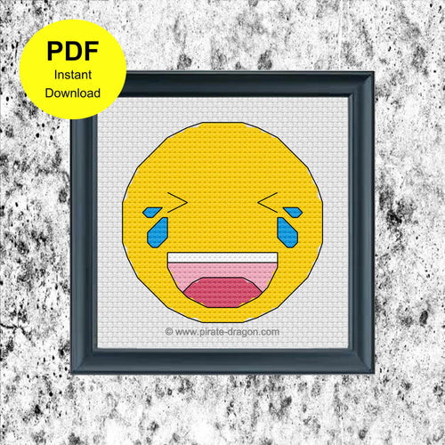 Laughing Emoji 1 - Counted Cross Stitch Pattern - Digital Pattern - INSTANT DOWNLOAD