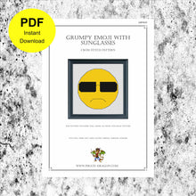 Load image into Gallery viewer, Grumpy Emoji with Sunglasses - Counted Cross Stitch Pattern - Digital Pattern - INSTANT DOWNLOAD