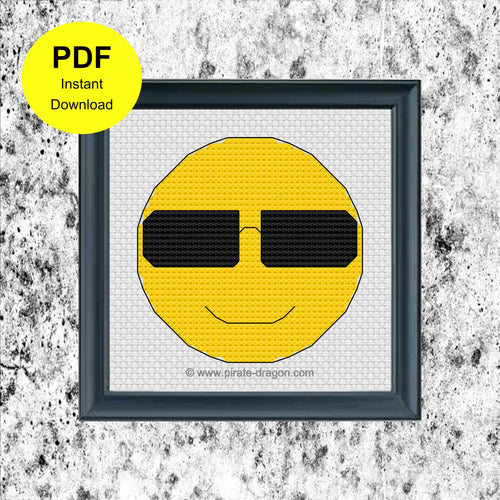 Happy Emoji with Sunglasses - Counted Cross Stitch Pattern - Digital Pattern - INSTANT DOWNLOAD