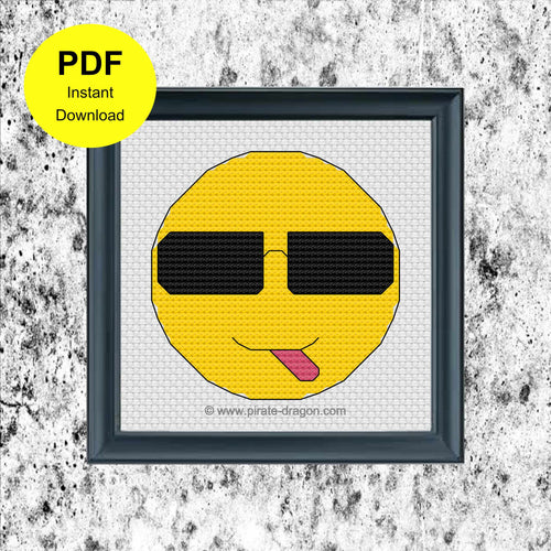 Cheeky Emoji with Sunglasses - Counted Cross Stitch Pattern - Digital Pattern - INSTANT DOWNLOAD