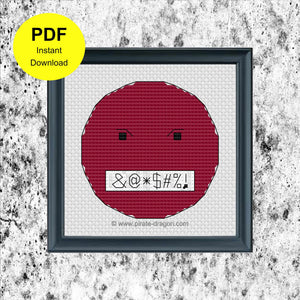 Angry Emoji 1 - Counted Cross Stitch Pattern - Digital Pattern - INSTANT DOWNLOAD