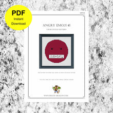Load image into Gallery viewer, Angry Emoji 1 - Counted Cross Stitch Pattern - Digital Pattern - INSTANT DOWNLOAD