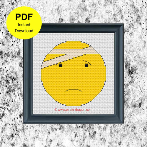 Bandaged Emoji - Counted Cross Stitch Pattern - Digital Pattern - INSTANT DOWNLOAD