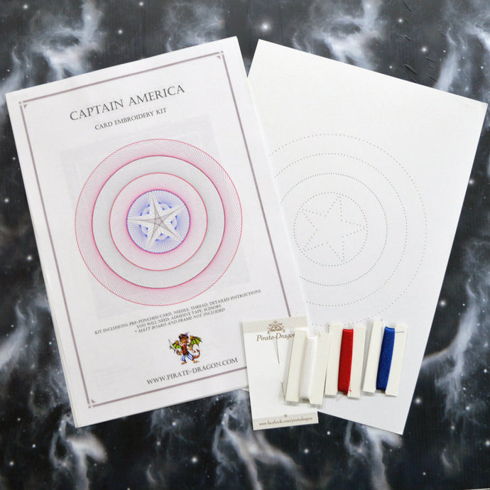 Capt America Inspired Card Embroidery Kit (White Card)