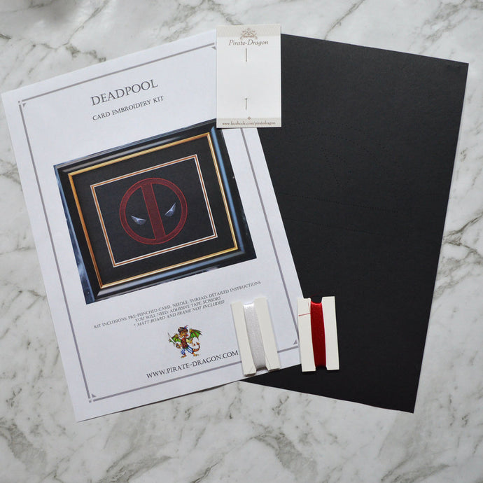 Deadpool Inspired Card Embroidery Kit (Black Card)