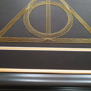 Harry Potter Deathly Hallows Inspired Card Embroidery Kit (Black Card)